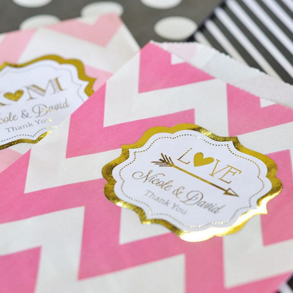 Personalized gold or silver ready-to-use peel and stick labels shown on candy bags (not included)