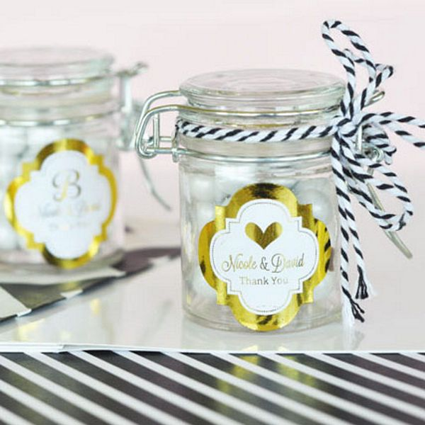 Personalized gold or silver ready-to-use peel and stick labels shown on mini glass jars (not included)