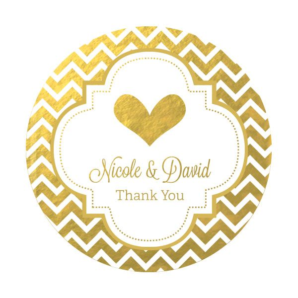 Wedding Gift Sticker Template : Personalized Round Metallic Foil Wedding Favor Stickers