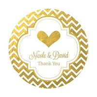 Personalized round favor stickers with custom design and text