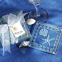 Shell and Starfish Beach Theme Frosted Glass Coaster Favors