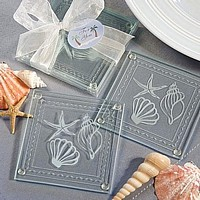 Assorted Seashell Design Beach Theme Glass Coaster Favors