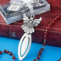 Silver angel bookmark with rhinestone accents