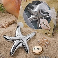 Shiny silver metal chrome finished starfish bottle opener
