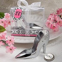 High heel shoe design bottle opener with rhinestone accents