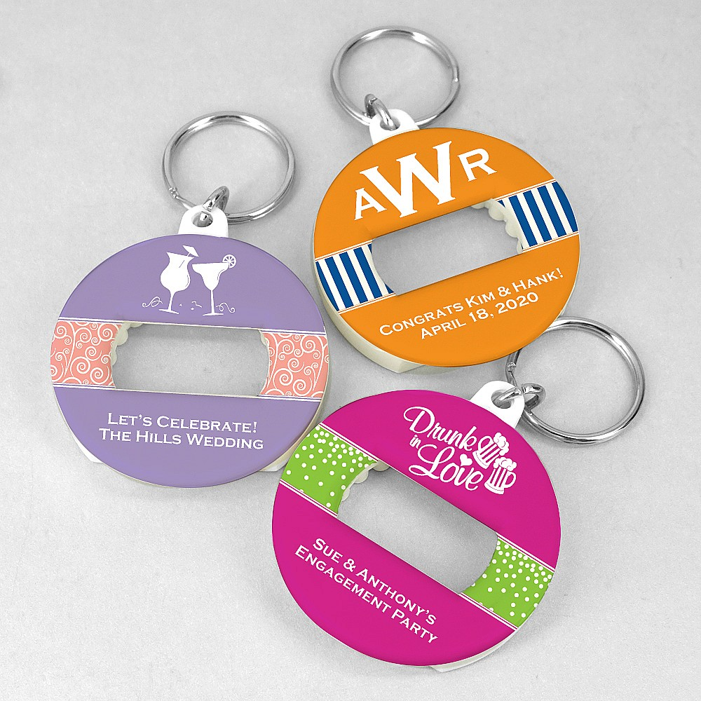 Custom personalization on personalized keyring bottle openers