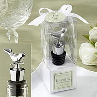 Personalized Lovebirds Chrome Wine Bottle Stoppers