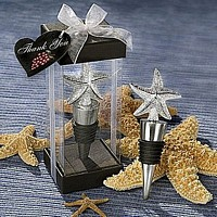 Pebbled Starfish Wine Bottle Stoppers Packaged in a Clear Favor Box with Attached Organza Ribbon and Tag