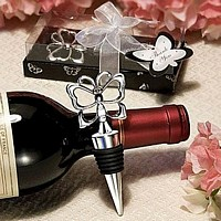 Chrome Butterfly Wine Bottle Stoppers Packaged in a Clear Favor Box with Attached Organza Bow and Tag