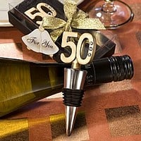 50th anniversary wine bottle stopper favors with clear gift box and metallic gold ribbon