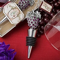 Purple jeweled grape wine bottle stopper