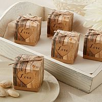 Rustic wood grain print 2 x 2 two piece favor boxes with natural twine and 'Love' laser cut heart