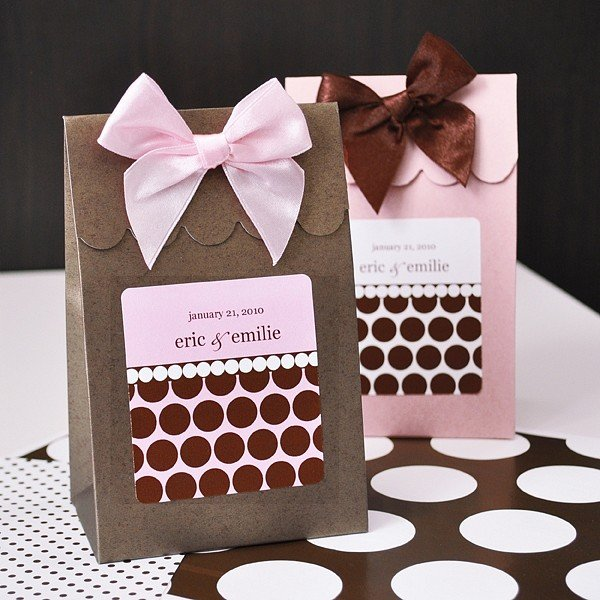 Chocolate Brown and Pink Dots and Stripes Sweet Shoppe Candy boxes shown with Pink Dots and Chocolate Dots personalized labels
