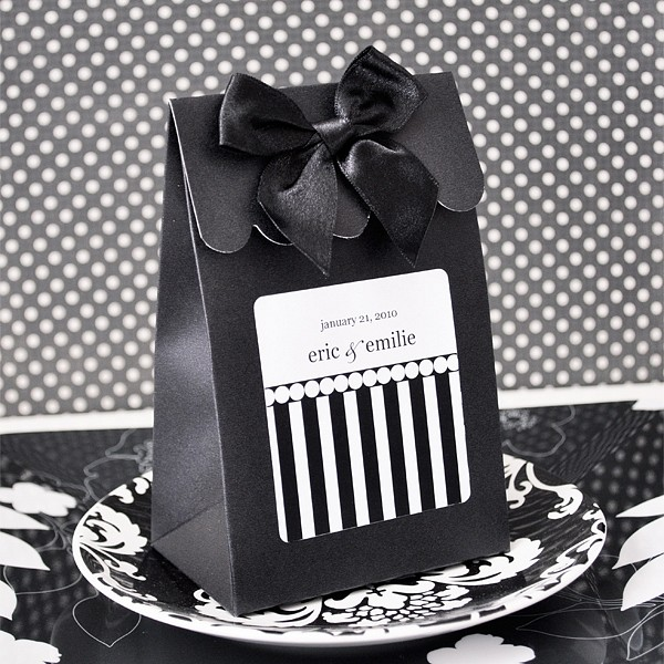 Black Dots and Stripes Sweet Shoppe Candy box shown with Black Stripes personalized label