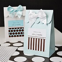 Blue and White Dots and Stripes Sweet Shoppe Candy boxes shown with Blue Dots and Chocolate Stripes personalized labels