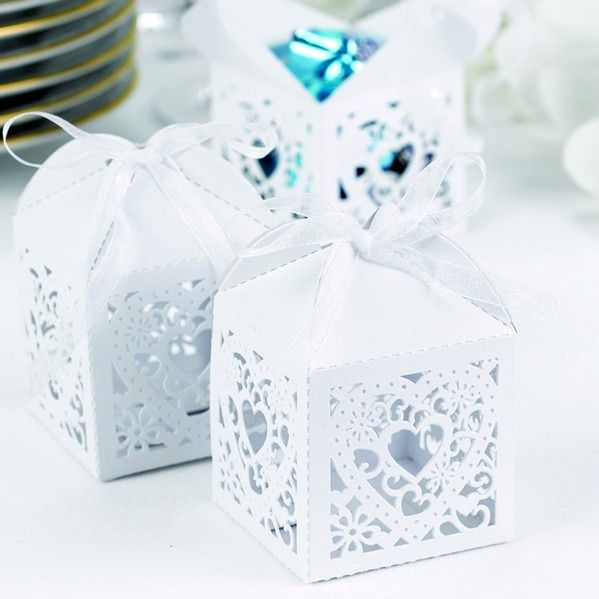 2 X 2 Square White Decorative Lace Heart Favor Boxes Set Of 25