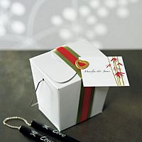 White Asian style take out favor boxes with wire handles