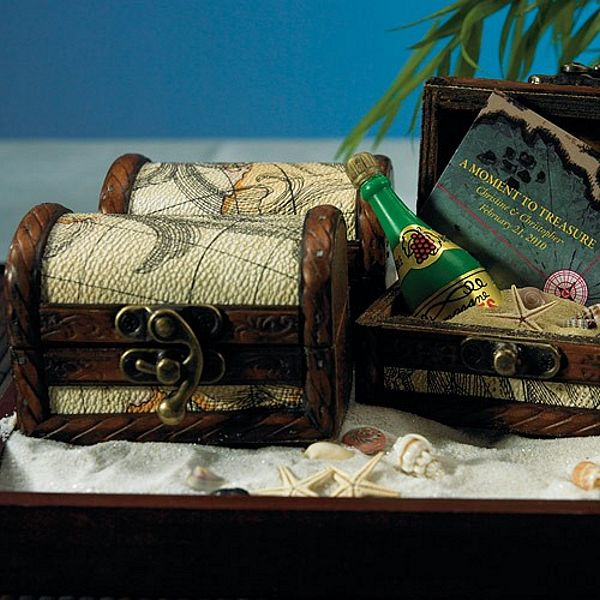 6 Pc Mini Wood Treasure Chest Favor Gift Boxes Set