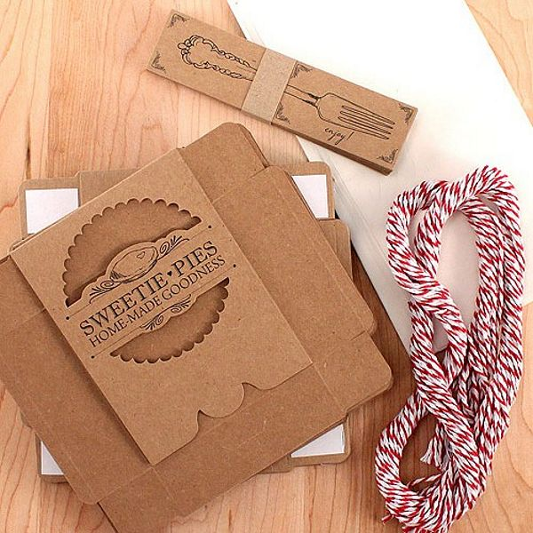 Mini pie packaging kits includes: boxes, tags, wax sheets and pre-cut twine