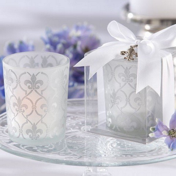 'Fleur de lis' Frosted Glass Tea Light Holders
