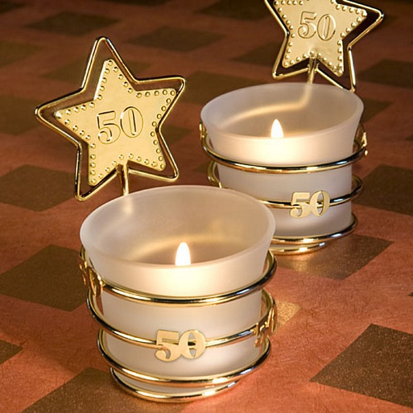 Gold Star 50th Frosted Glass Votive Candle Favors
