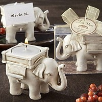 Antique Finish Ivory Elephant Personalized Tea Light Place Card Holder