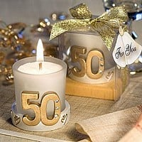 Golden 50th anniversary votive candle favors with clear gift box and metallic gold ribbon