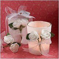 Flower decorated votive candle for wedding and party favors