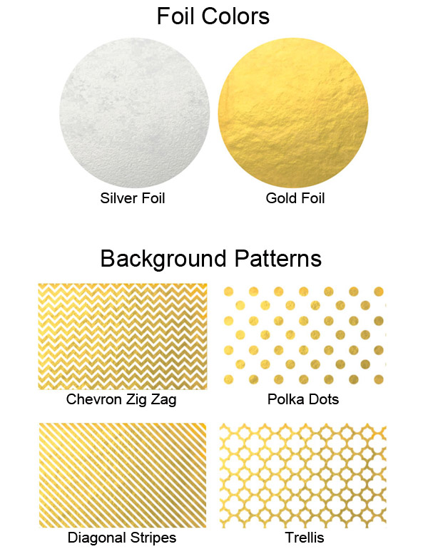 Choose from 4 background pattern options and 2 foil colors for your personalized labels