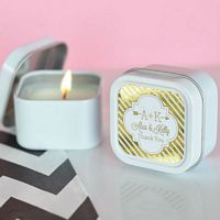 Square candle tin favors with personalized metallic foil labels custom printed with design and text