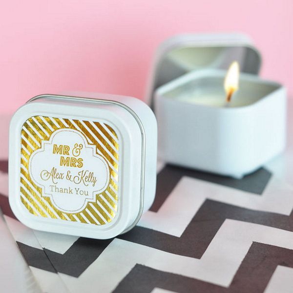Personalized gold or silver foil stickers on square candle tin favors