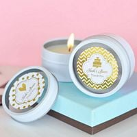 Round candle tin favors with personalized metallic foil labels custom printed with design and text