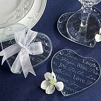 Etched Heart Shaped Glass Coasters Packaged in Clear Favor Box Attached with Sheer Organza Ribbon