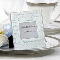 White finish and white accented place card picture frames