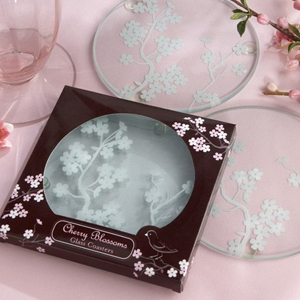 Pc cherry blossoms frosted glass favor coasters set