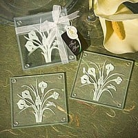 Clear glass coaster set with a frosted white calla lily bouquet design