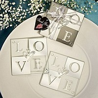 Two square glass coasters with silver and clear alternating block LOVE letters and a centered graphic heart design