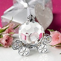 Crystal pumpkin carriage with silver favor box and heart thank you tag