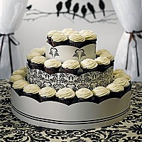 3 Tier cupcake tower with love birds damask design