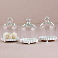 Mini Clear Glass Bell Jars with White Fluted Base