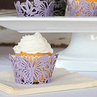 Butterfly laser cut cupcake liners in lavender shimmer