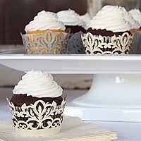 Cupcakes in laser cut damask cupcake liners