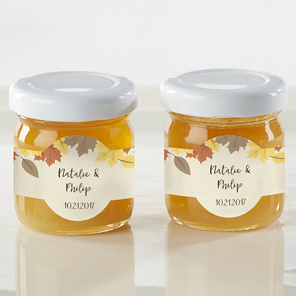 Personalized Fall 1.75 Oz Clover Honey Jars adorned with custom printed labels featuring falling leaves design and three lines of custom text