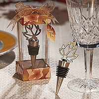 Autumn Theme Leaft Shaped Bottle Stopper with Gift Box and Tag