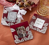 Fall Themed Picture Coasters in Gift Boxes for Wedding Favors