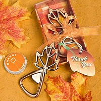Fall leaf shaped bottle opener favors with copper finish