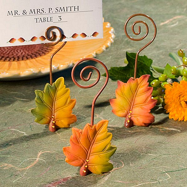 Wedding Place Card Holder Ideas: 4 X 2 Colorful Fall Leaf Table Place Card Holders