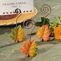 Leaf design wire place card holders for fall wedding reception and party favors