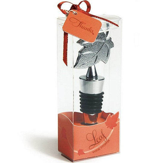 Silver finish maple leaf wine bottle stopper in decorative favor box