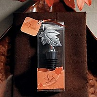 Silver finish maple leaf wine bottle stopper in decorative favor box with thank you tag